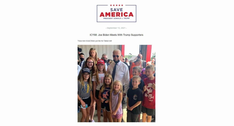 Sådan ser en af Donald Trumps mange mails ud fra mandag. I denne gør han grin med præsident Biden.