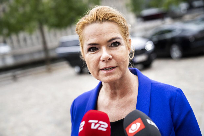 Inger Støjberg ankommer til Eigtveds Pakhus, hvor rigsretssagen afvikles, tirsdag 14. september 2021.