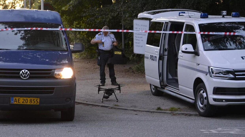 Der var massivt politiopbud efter drabet på den 25-årige rapper Shmur. FOTO: Øxenholt Foto