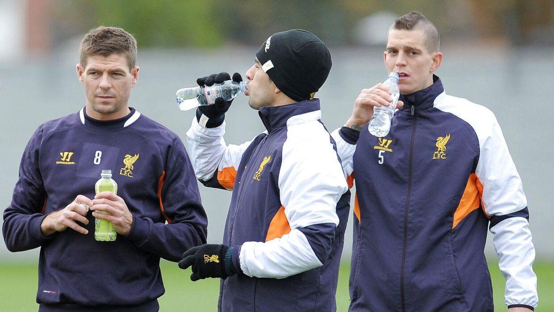 Steven Gerrard (tv.), Luis Suarez (i midten) og Daniel Agger i Liverpool-dagene.