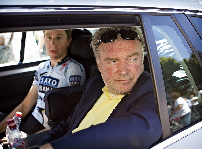 Lars Seier Christensen og Chris Anker Sørensen til Tour de France i 2011 med Saxo Bank.