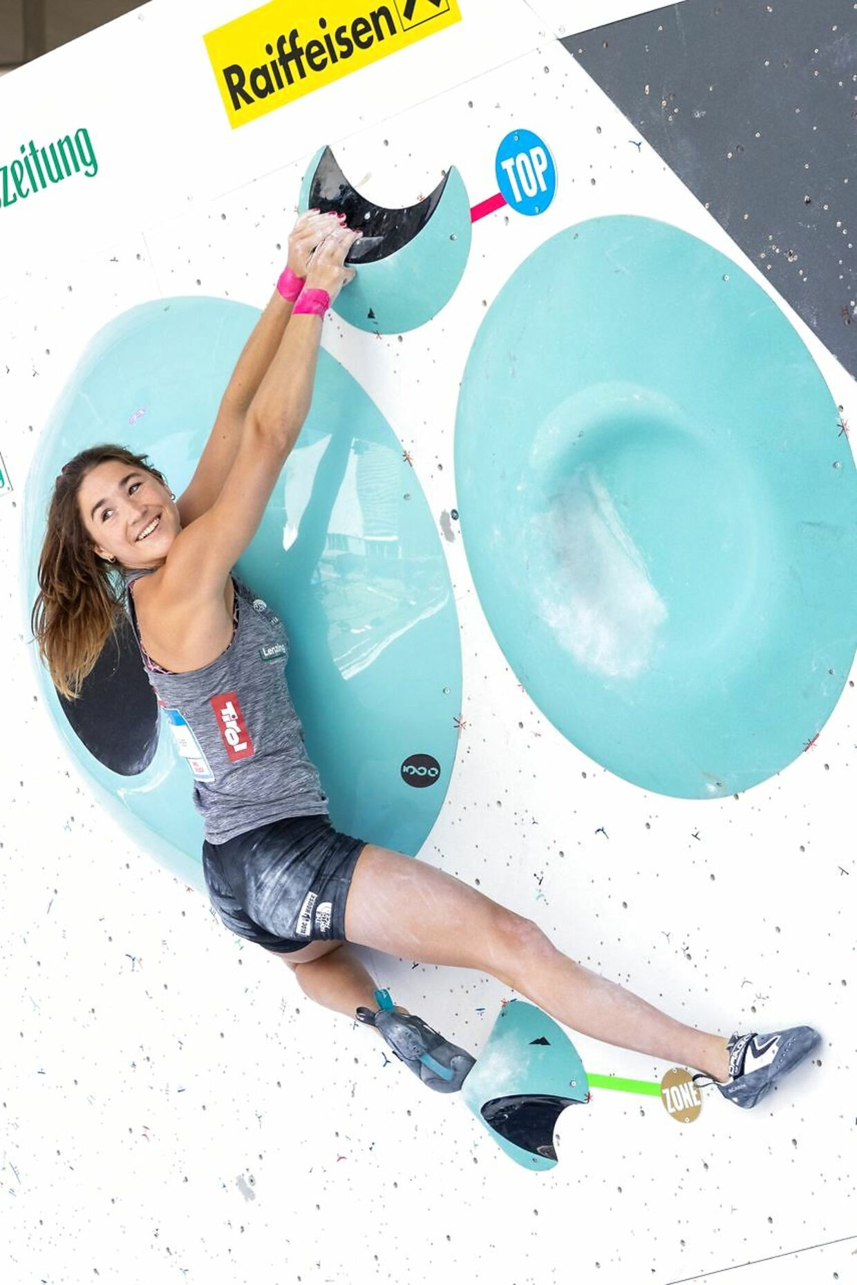 Austria's Johanna Färber competes in the women's Boulder competition semi-final of the IFSC Climbing World Cup in Innsbruck, Austria, on June 26, 2021. (Photo by Johann GRODER / various sources / AFP) / Austria OUT