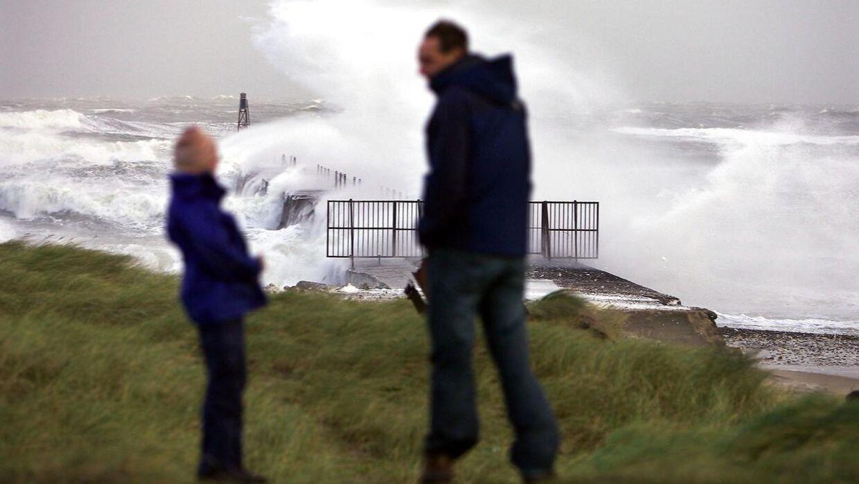 Dele af landet bliver ramt af vindstød af stormstyrke torsdag, melder DMI. (Arkivfoto)