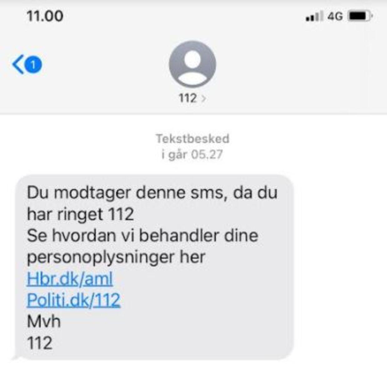 Hvis du laver et lommeopkald til sms, modtager du en sms som denne.