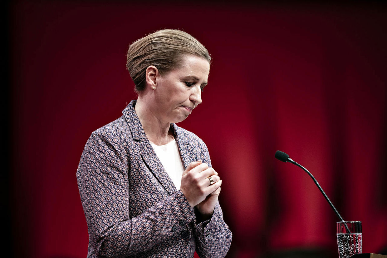 Statsminister Mette Frederiksen på talerstolen ved Socialdemokratiets Kongres i Aalborg Kongres og Kulturcenter, lørdag den 18. september 2021.