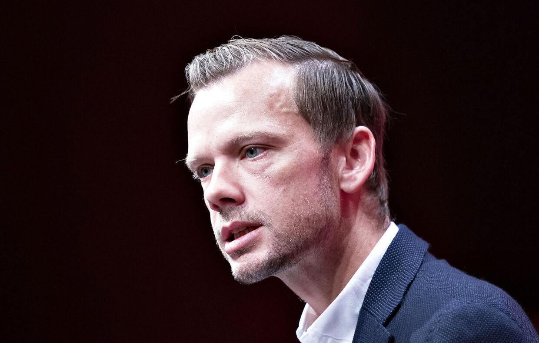 Beskæftigelsesminister Peter Hummelgaard taler om Utøya på Socialdemokratiets Kongres i Aalborg Kongres og Kulturcenter 19. september 2021. (Foto: Henning Bagger/Ritzau Scanpix)