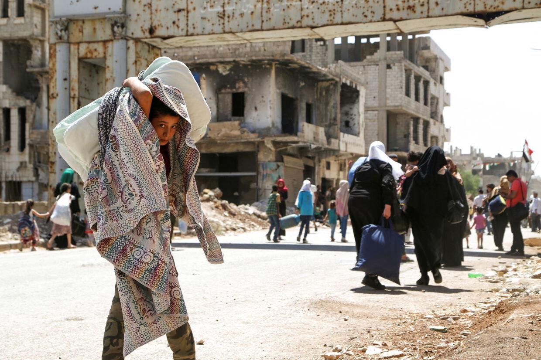 Fra marts 2011 til marts 2021 er over 350.000 mennesker blevet dræbt i Syrien - både civile og væbnede oprørere eller soldater. Men det tal er lavt sat, lyder det fra FN, der arbejder videre på en mere komplet opgørelse. (Arkiv) Yamam Al Shaar/Reuters