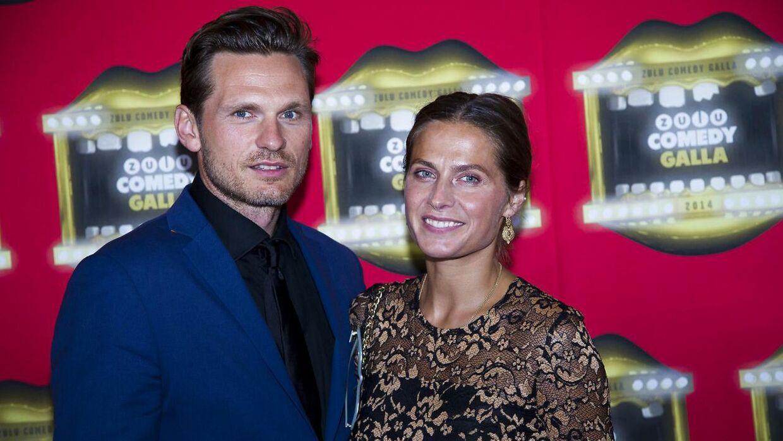 Andrea Elisabeth Rudolph med sin mand, Claus Møller Jakobsen. Parret har to børn sammen.