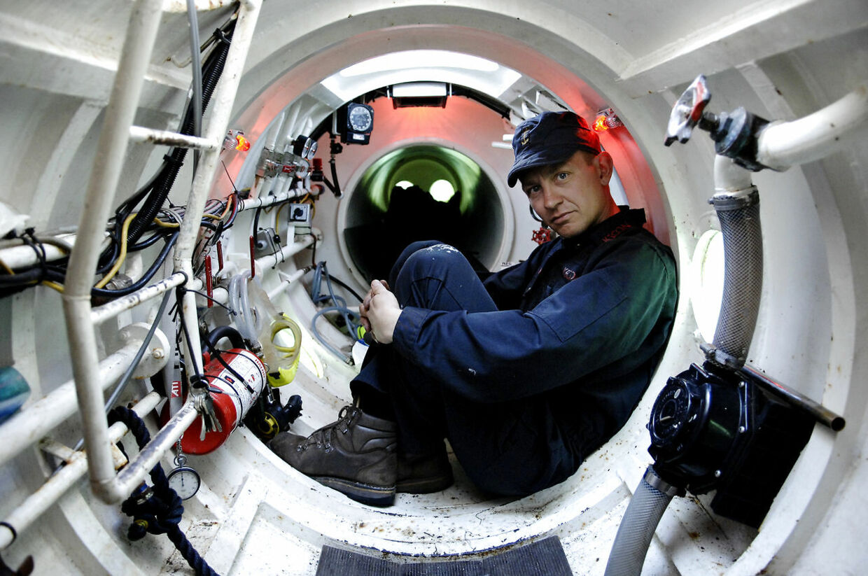Peter Madsen fotografert i en af sine tre hjemmebyggede ubåde.