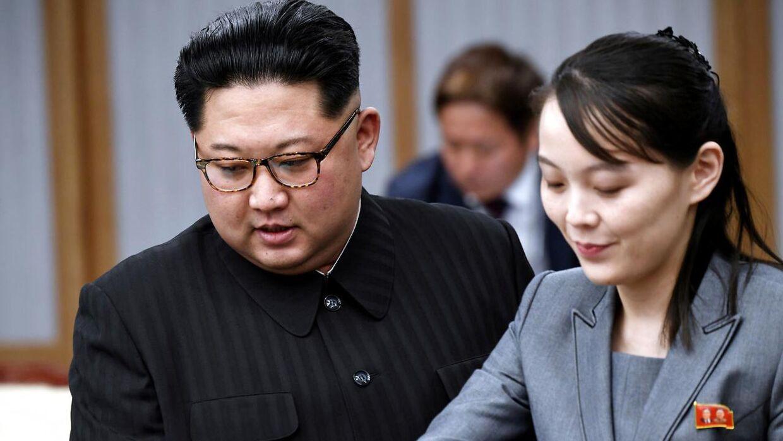 Den nordkoreanske leder Kim Jong-Un og hans søster Kim Yo Jong er til møde med den sydkoreanske præsident Moon Jae-in i Pammunjon i 2018.