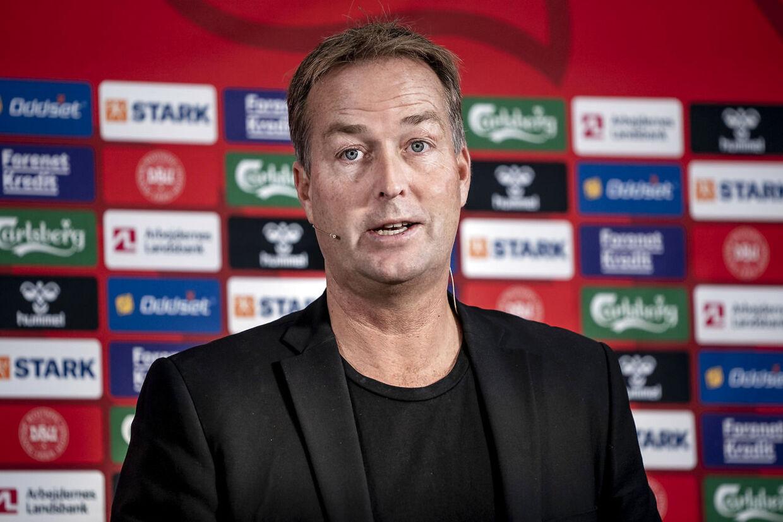Kasper Hjulmand udtager landsholdet til kampene mod Moldova og Østrig. København, mandag den 27. september 2021.. (Foto: Liselotte Sabroe/Ritzau Scanpix)