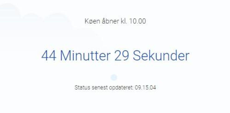 Danskerne kunne tirsdag morgen klokken 09 sætte sig i kø, inden der klokken 10 blev åbnet for ansøgninger til boligforbedringer. Foto: Screenschot