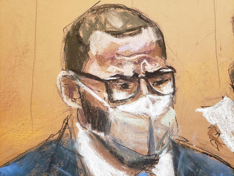 Retstegning af R. Kelly fra da han mandag blev dømt skyldig i alle ni anklagepunkter om blandt andet menneskehandel og for at have drevet en prostitutionsring.