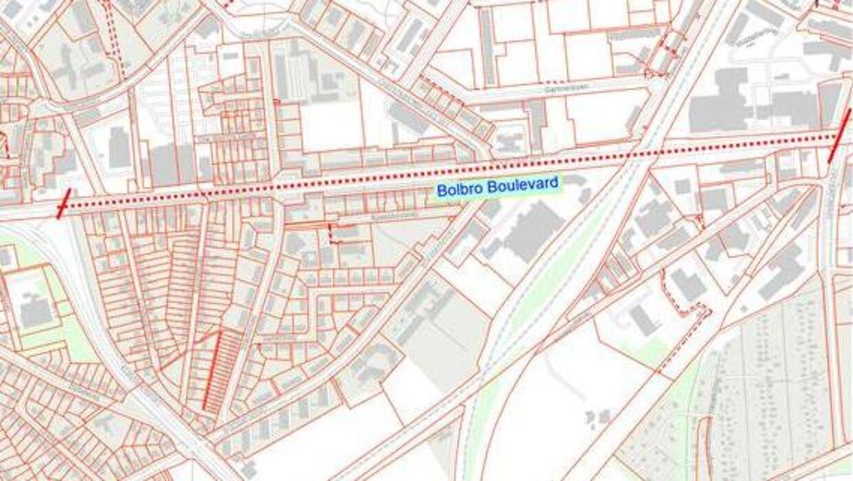 Det er den markerede strækning, som en borger ønsker at ændre navnet på. Foto: Odense Kommune.