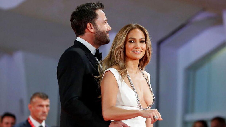 Kan man se mere lykkelig ud? Jennifer Lopez og Ben Affleck troppede i september op sammen til premieren på 'The Last Duel'?