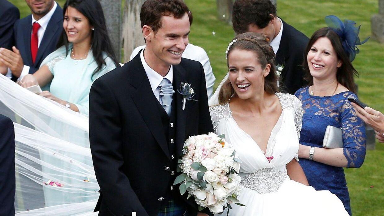 Sådan så det ud, da Andy Murray giftede sig med Kim Sears i byen Dunblane i Skotland tilbage i 2015.