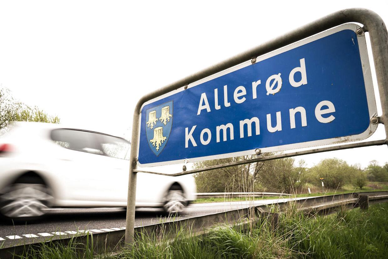 Skilt ved grænsen mellem Allerød og Furesø Kommune, onsdag den 12. maj, 2021