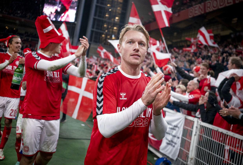 Simon Kjær efter VM-kvalifikationskampen mellem Danmark-Østrig i Parken, tirsdag den 12. oktober 2021.. (Foto: Liselotte Sabroe/Ritzau Scanpix)