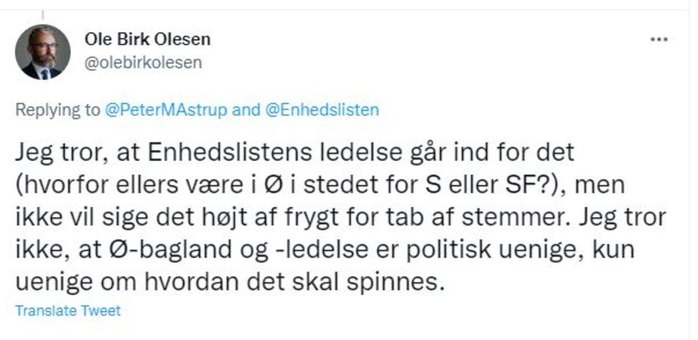 Ole Birk Olesen skrev for nylig på Twitter, at han fortsat har den overbevisning, at Enhedslisten går ind for en revolution. En politik, som de ellers forlod for syv år siden. Svaret er fra en tråd, hvor netop revolutionen diskuteres.