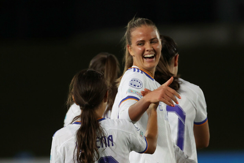 Caroline Møller brugte blot 37 minutter på at lave hattrick for Real Madrid i Champions League. Juanjo Martin/Ritzau Scanpix