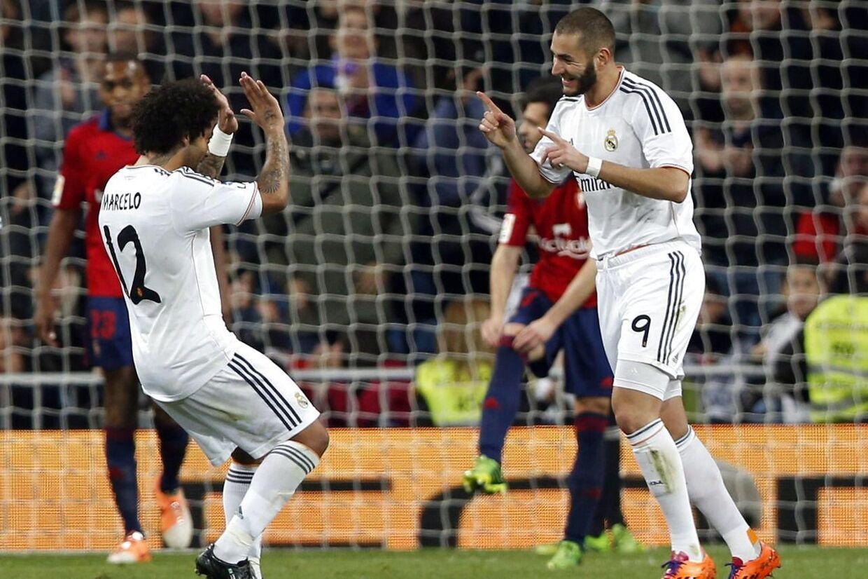 Karim Benzema scorede det første mål, da Real Madrid vandt med 2-0 over Osasuna i pokalturneringen.