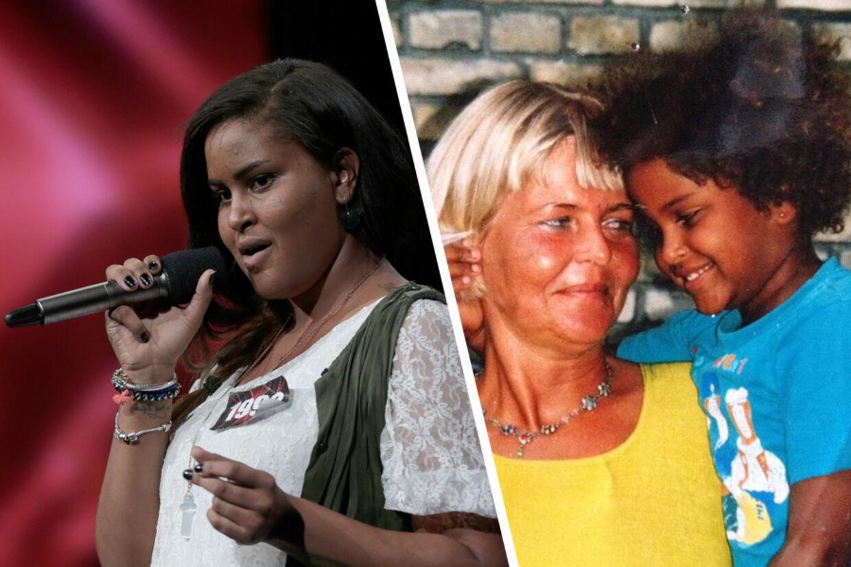 Ida Yasmin Guy sang sig fredag aften videre i X Factor (tv), og det skete med sangen 'Oh mama', som er dedikeret til hendes afdøde mor, som kan ses sammen med Ida på barndomsbilledet (th).