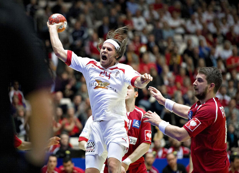 Mikkel Hansen i aktion mod Østrig i tirsdag aftens EM-kamp.