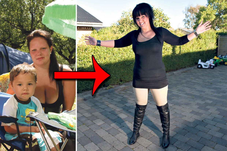 Før og efter: Der er blevet 47 kilo mindre af 'den unge mor' Camilla Framnes. Nu mangler hun bare de sidste 12 kilo, så er hun tilfreds.