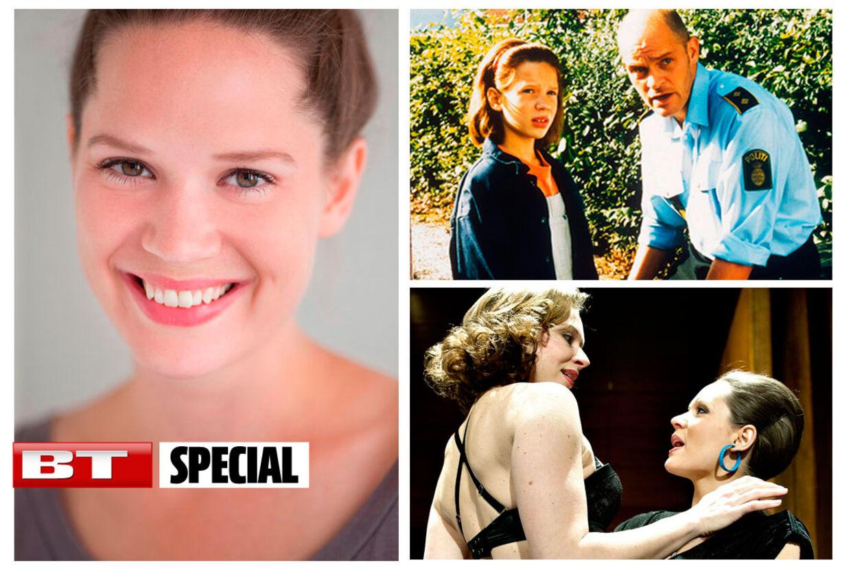 Amalie Dollerup blev landskendt som pigen i Sille i serien 'Strisser på Samsø'. Hun er i dag tilknyttet Aalborg Teater, Tidligere på året spillede hun en af hovedrollerne i stykket 'Begravelsen' (nederst, højre), der er en teaterfortsættelse af Thomas Vinterbergs 'Festen'.