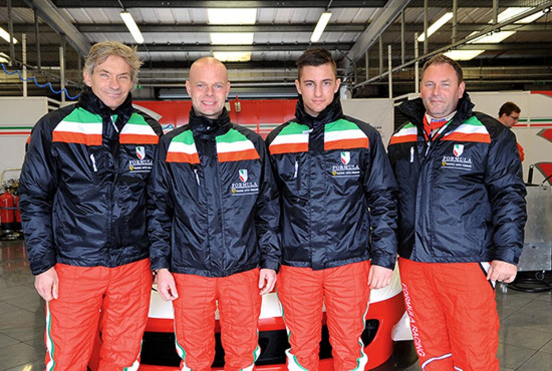 Formula Racing. Fra venstre Johnny Laursen, Jan Magnussen, Mikkel Mac og Allan Jørgensen.