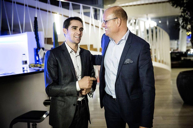 Cykelevent hos Saxo Bank. Bjarne Riis og Alberto Contador holder foredrag hos Saxo Bank.