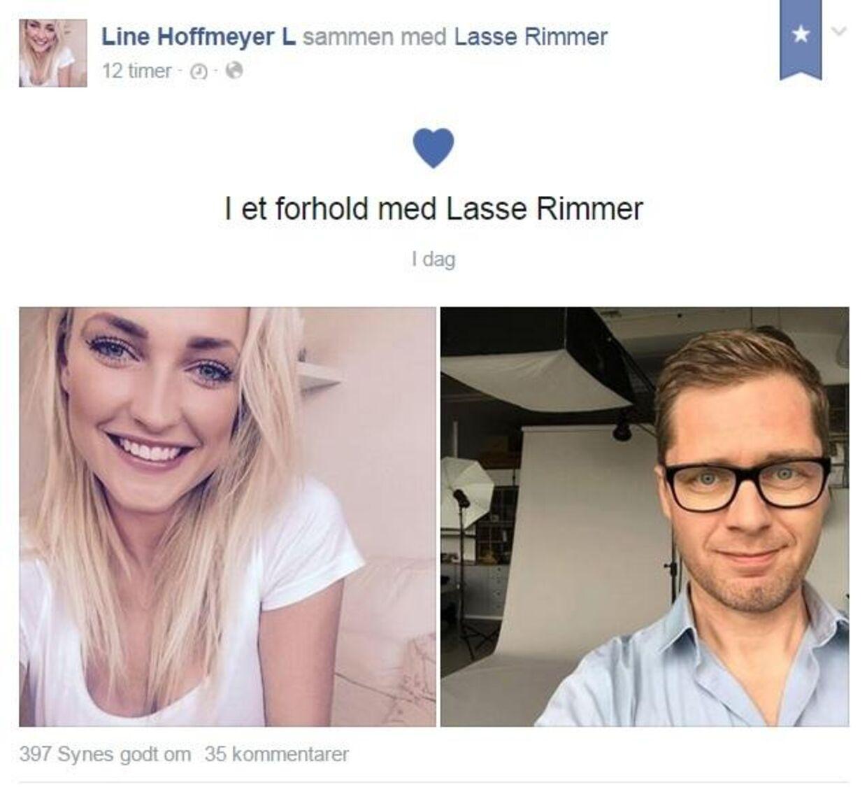 Sådan så det ud, da Line Hoffmeyer afslørede forholdet til den 20 år ældre komiker på Facebook.
