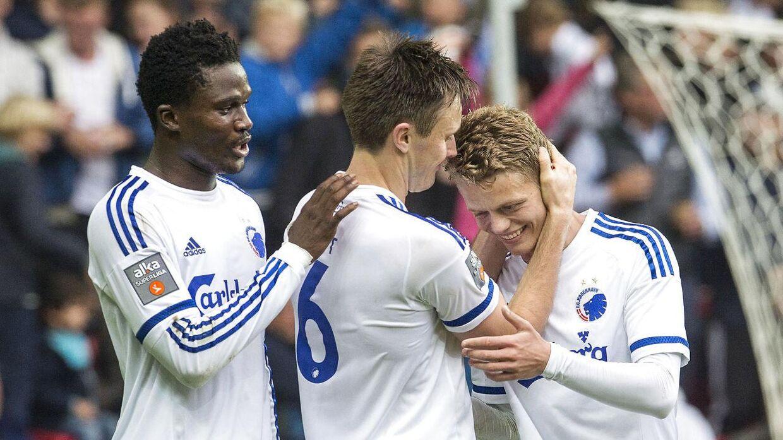 Daniel Amartey (tv) skulle nu være tæt på at skifte fra FC København til Leicester for en transfer i omegnen af 60 mio. kr.
