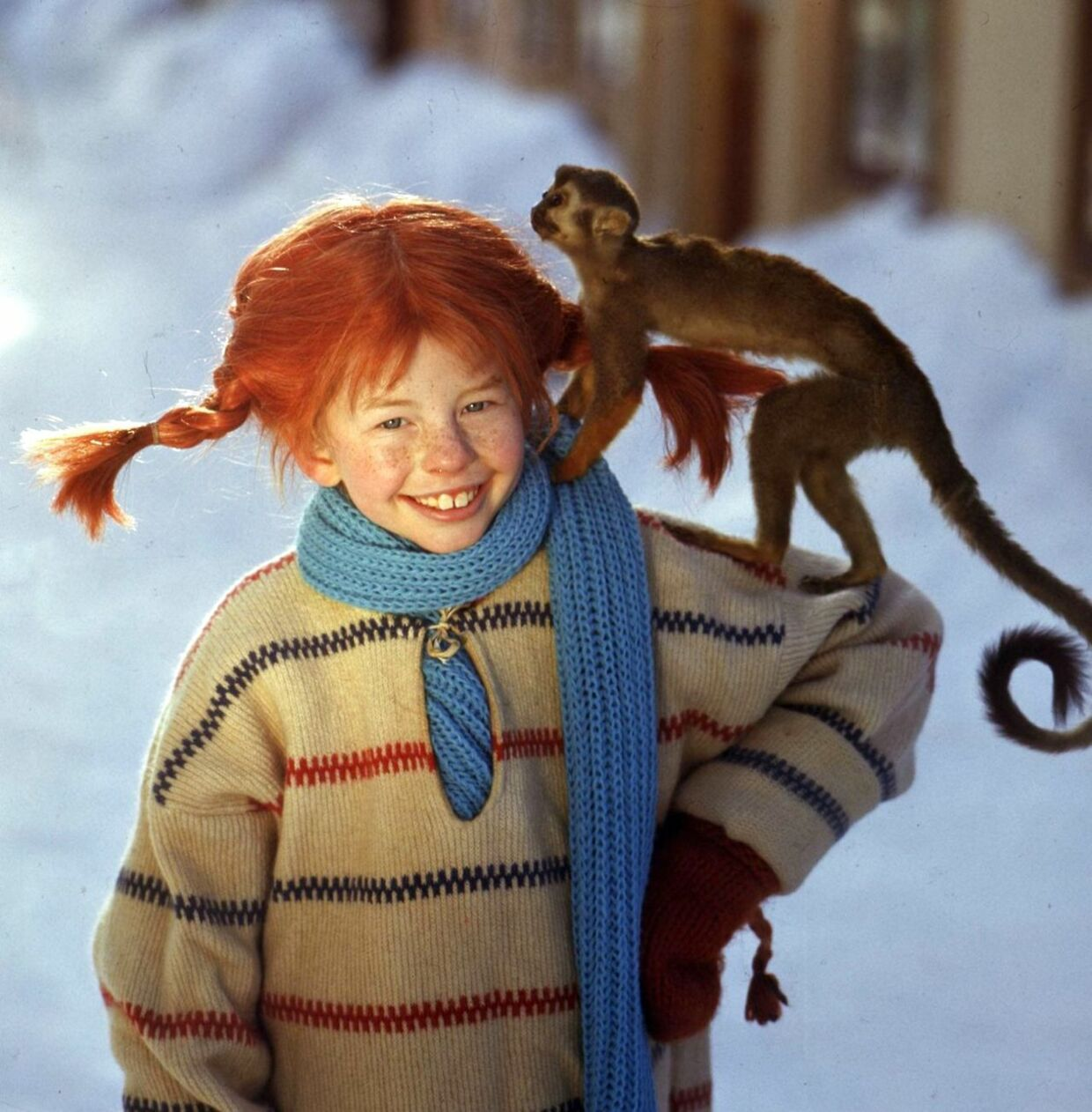 "STO03- 20020128-STOCKHOLM, SWEDEN: (FILES) File picture from February 1968 file photo of Inger Nilsson dressed as Pippi Longstocking, with her monkey ""Mr Nilsson"" on her shoulder. Swedish author Astrid Lindgren has died, 94 years old, Swedish news agency TT reported Monday. Lindgren wrote children books about Pippi Longstocking, Karlsson on the roof and other popular figures. EPA PHOTOS PRESSENS BILD/JAN DELDEN/TEN -SWEDEN OUT-"