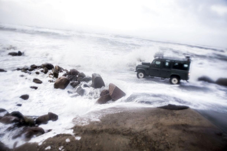 Stormen Egon ramte lørdag Nordvestjylland. Stormturister på tur med VestEvent, som arrangerer storm chashing på vestkysten i Vendsyssel. Her Nørre Lyngby.