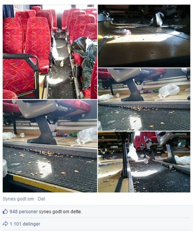 Sådan så bussen ud efter gymnasieelever var blevet kørt til Prag. Skraldet flyder over det hele.