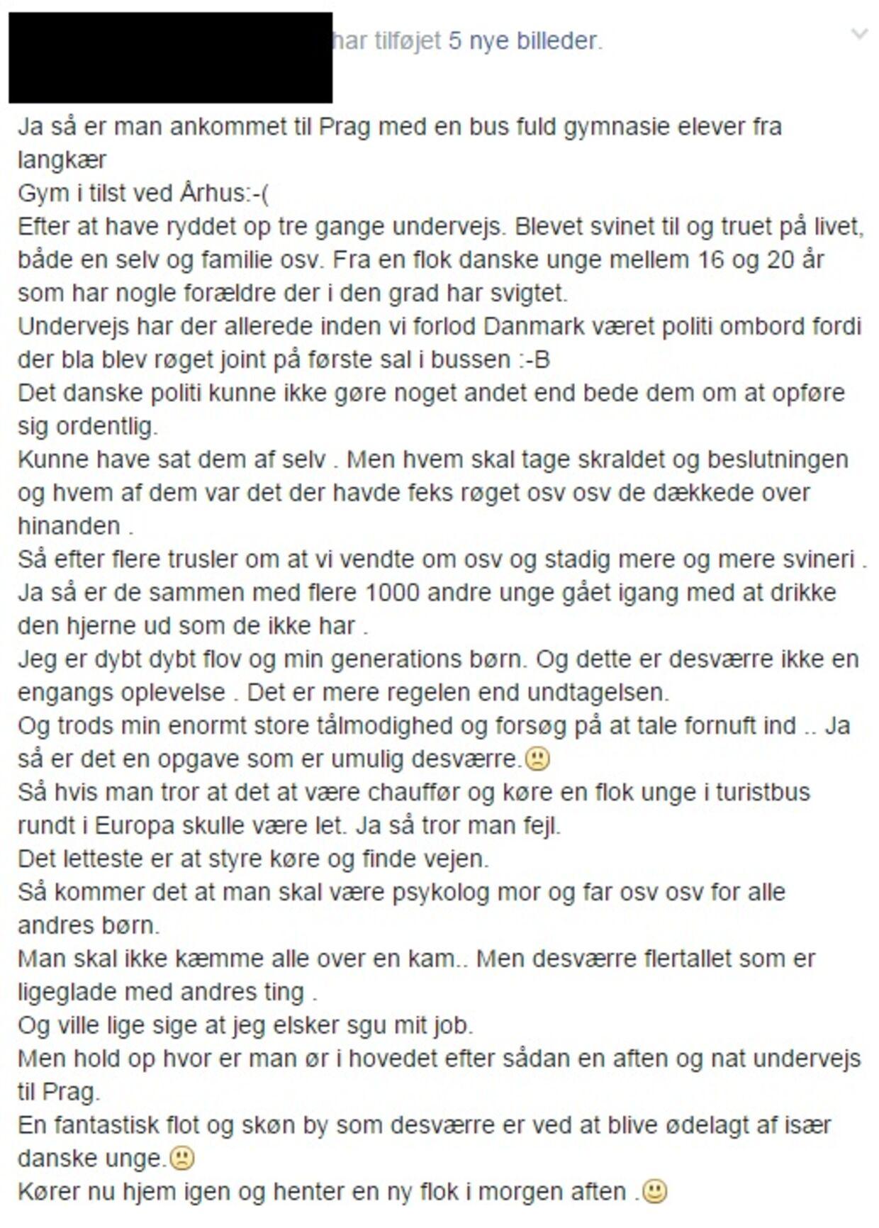 Her ses Facebook-opslaget fra buschaufføren, der havde en ubehagelig oplevelse med de mange unge mennesker, han skulle køre til Prag.