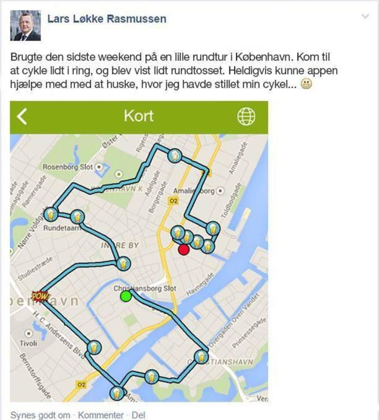 Når Løkke cykler rundt i København stopper han gerne 13 steder og drikker øl undervejs, lyder logikken bag dette opslag fra Blå Blok Indefra.