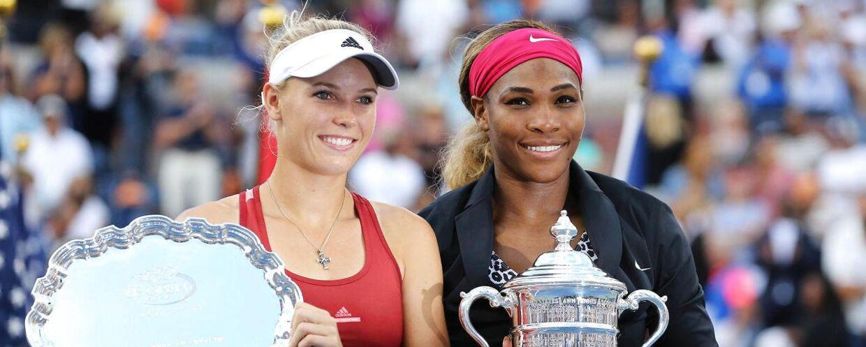 Caroline Wozniacki gjorde en flot figur ved US Open, men kunne dog ikke slå sin gode veninde Serena Williams (th.) i finalen