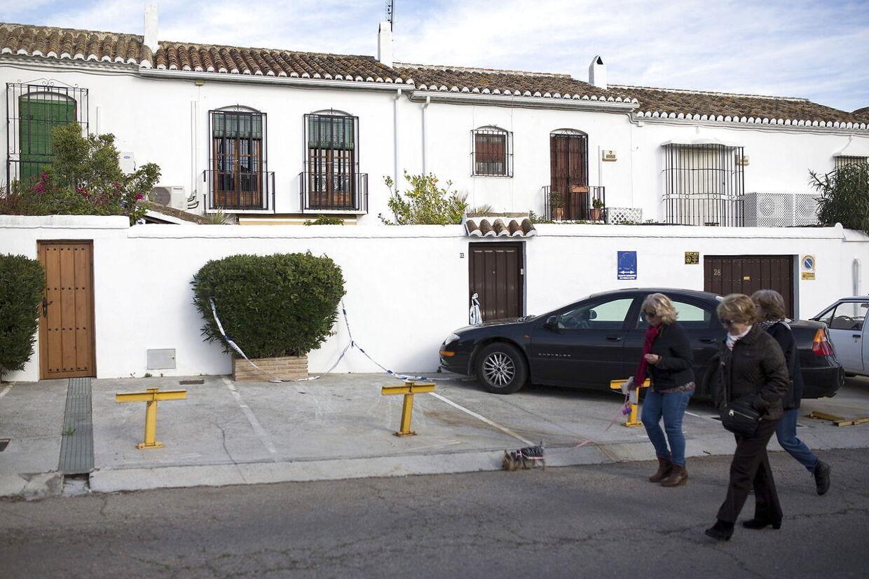 Huset i Fuengirola i det sydlige Spanien, hvor en 70-årig kvinde blev fundet dræbt i sidste uge.