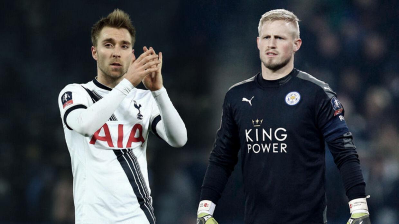 To danskere med succes i den engelske Premier League, Tottenhams Christian Eriksen og Leicesters Kasper Schmeichel (th.)
