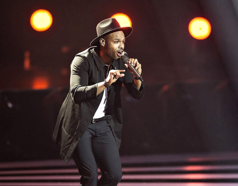 Der var fredag aften generalprøve på det danske Melodi Grand Prix i Forum Horsens. Her ses sang nr.1: Rays of Sunlight, med sangeren David Jay.