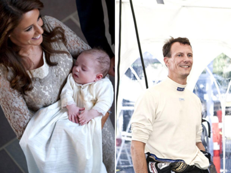 Den lille prins blev sidste lørdag døbt Henrik efter sin farfar. Til højre ses prins Joachim til Copenhagen Historic Grand Prix i København.