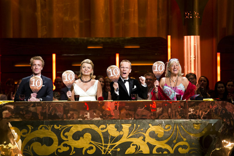 Vild med dans finale fredag d. 9. november 2012. Fire ti-taller fra Nikolaj Hübbe, Anne Laxholm, Jens Werner og Britt Bendixen. (Foto: Martin Sylvest Andersen/Scanpix 2012)