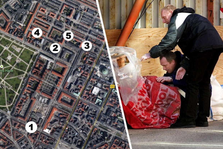 Området omkring Klerkegade undersøgtes for fingeraftryk af politiets tekniske afdeling efter fundene af afskårne lemmer i det indre København lørdag 26. marts 2005.