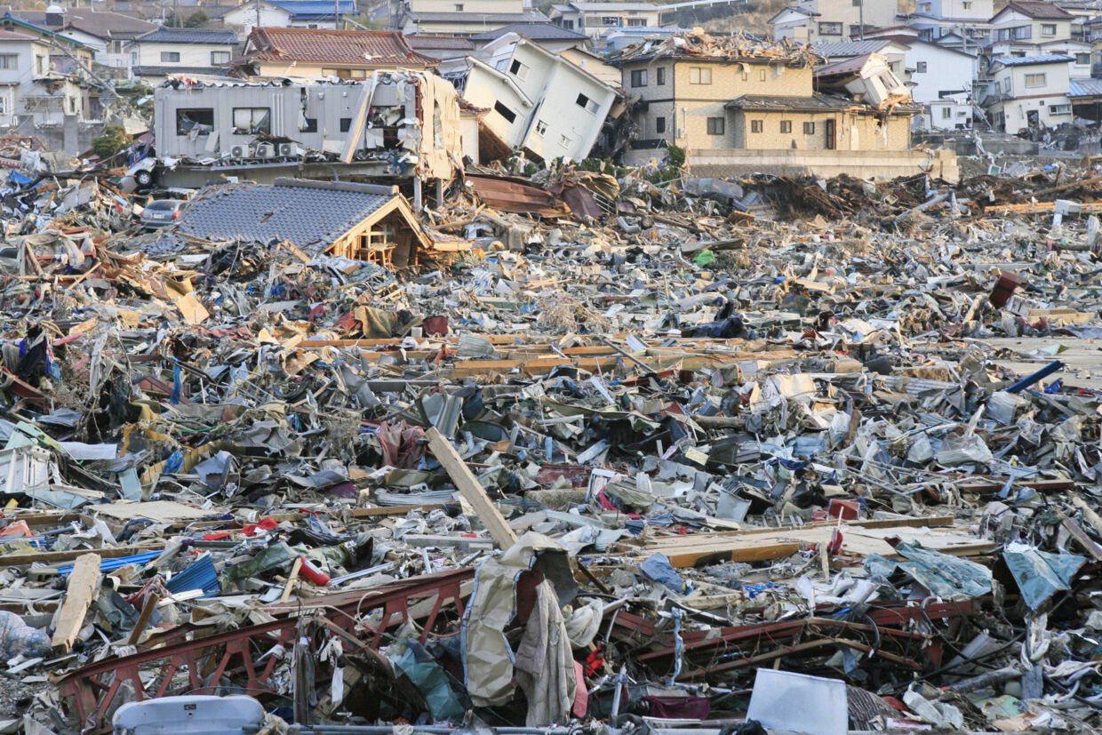 A destroyed landscape is pictured in Onagawa, Miyagi Prefecture in northern Japan, after an earthquake and tsunami struck the area, March 13, 2011. REUTERS/Kyodo (JAPAN - Tags: DISASTER ENVIRONMENT IMAGES OF THE DAY) FOR EDITORIAL USE ONLY. NOT FOR SALE FOR MARKETING OR ADVERTISING CAMPAIGNS. THIS IMAGE HAS BEEN SUPPLIED BY A THIRD PARTY. IT IS DISTRIBUTED, EXACTLY AS RECEIVED BY REUTERS, AS A SERVICE TO CLIENTS. JAPAN OUT. NO COMMERCIAL OR EDITORIAL SALES IN JAPAN