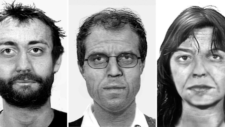 Tysk politi har offentliggjort billeder af tre Rote Armee Fraktion-terrorister, som man formoder, at de ser ud i dag. Fra venstre mod højre er det: Burkhard Garweg, Ernst-Volker Wilhelm Staub og Daniela Klette. Foto: Scanpix/BKA