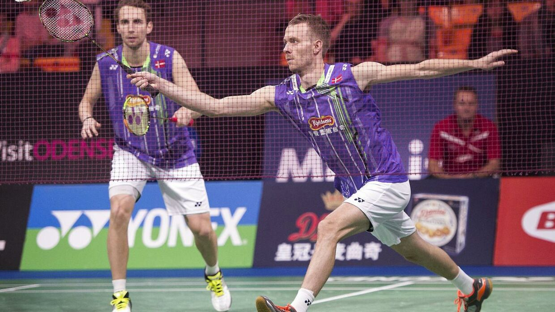 Mathias Boe (th) og Carsten Mogensen røg ud i semifinalen i Dubai.