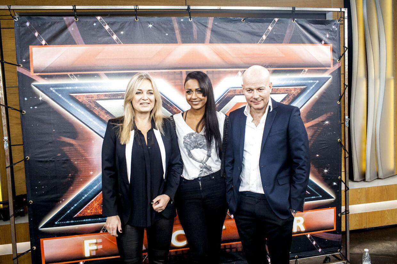 X Factor pressemøde hos DR torsdag d.13.december 2012, her ses dommerne, fra venstre, Anne Linnet, Ida Corr og Thomas Blachman. (Foto: Jeppe Bjørn Vejlø/Scanpix 2012)