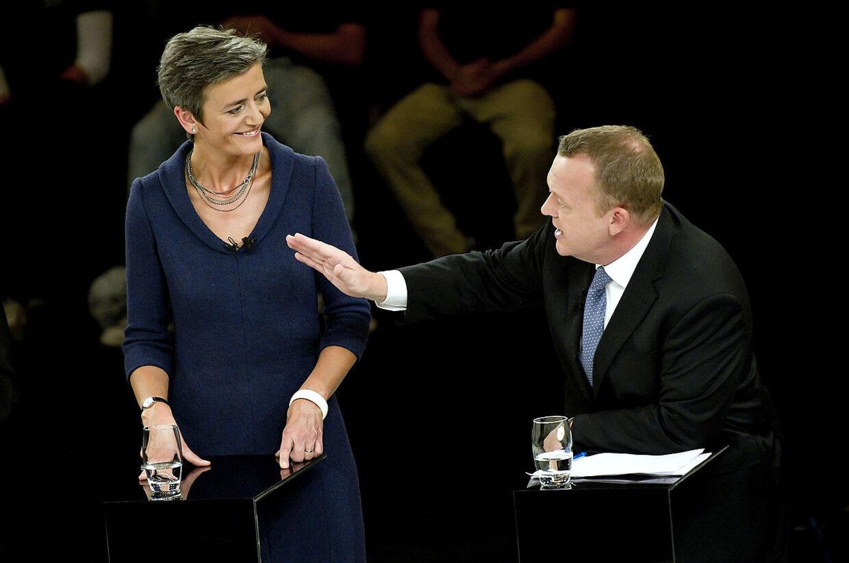 Margrethe Vestager og Lars Løkke Rasmussen under tirsdag aftens debat på DR1.